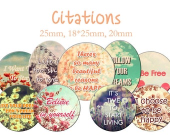 """Cabochons collage sheet / digital """"Quotes, love, friendship, hope, dream"""" round and oval"""