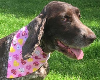 Designer Dog Bandanas for Dogs, Cats & Puppies in Pink Sweethearts from The Bandana Cabana