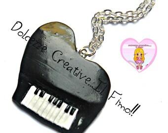 Piano necklace - gift musician - kawaii - handmade