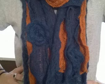 Scarf in mohair and acrylic orange and blue