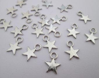 20 breloque étoile 11 x 9 mm en métal argenté