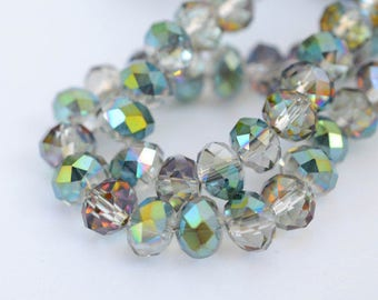 95 pcs Rondelle Faceted GLASS CRYSTAL Beads 6mm COLOURFULL Jewellery Making
