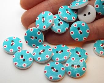 8x Polka dot blue button 15mm wooden