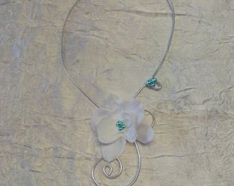 Wire aluminum Orchid wedding or bridesmaid necklace