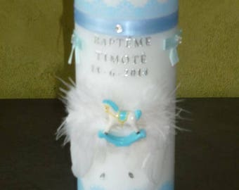 Personalized birthstone color blue horse baptism candles