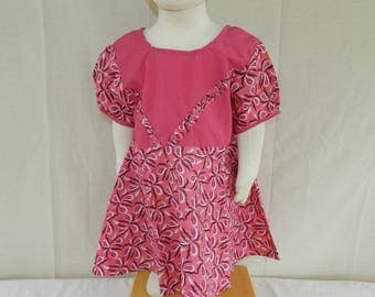 Dress baby girl pink n ° 8 and Poplin. One size 9 months to 24 months