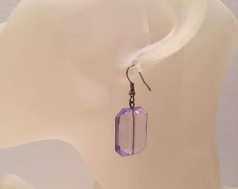 Transparent purple bead earrings