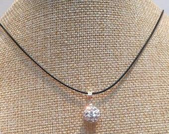 White shamballa Bead Necklace jewelry