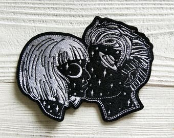 Space lovers boy and girl patch embroidered patch