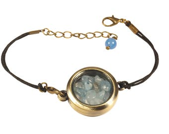 Bracelet Locket with glass beads semi precious aquamarine