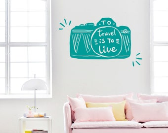 Travel Wall Decal-Camera Wall Decals-Travel is to Live-Dorm Decor-Photo Camera Vinyl Decals-Wall Art Murals Bedroom-Photo Vinyl Wall Decal