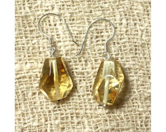Earrings faceted honey amber and 925 sterling silver