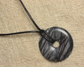 Stone - Donut 40mm Zebra Jasper pendant necklace