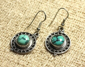 BO209 - 21 925 Silver earrings - natural Turquoise round 8mm