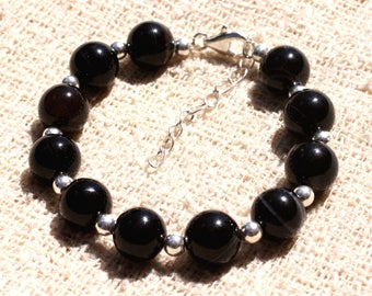 Bracelet 925 sterling silver and 10mm black Agate - stone