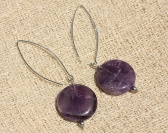 Earrings 925 Silver - Amethyst beads 20mm