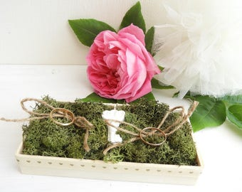 Country style wedding ring holder * key to happiness