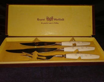 Mode Danish Sheffield Carving Set 3 Pieces Atomic Mid Century Modern Cutlery