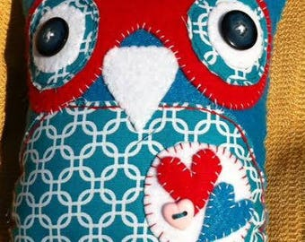 medium fabric and felt plush owl