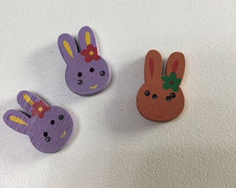 Set of wooden rabbit buttons