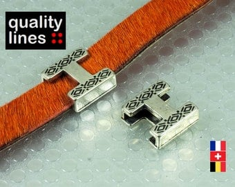 Zamak cord flat leather 10mm - 10mm slide silver passing: