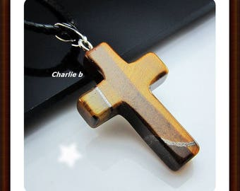 Tiger eye cross pendant on black leather - natural stone necklace