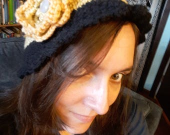 Black and Yellow Crocheted hat