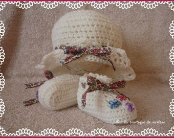 Baby girl: coordinated liberty knotted edge Beanie, crochet and and white slippers and embroidered 3 months