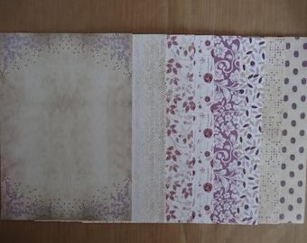 """8 scrapbooking papers with glitter / 5.75 x 8.25 """"(14.8 cm x 21 cm)-set no. 5"""
