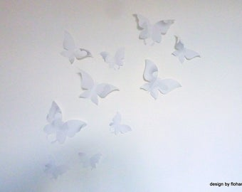 Flight of butterflies effect 3 different sizes customizable set of 12