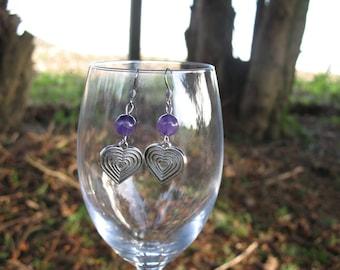 Earrings ' ear Amethyst beads and heart