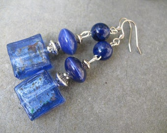 Blue night, lapis lazuli beads and glass beads