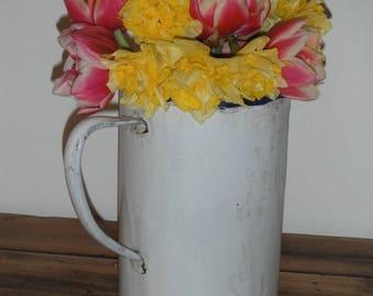 Old enamel pitcher diverted mind shabby and cottage chic vase
