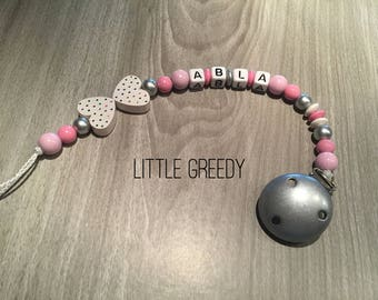 Personalized wooden pacifier clip-pacifier beads