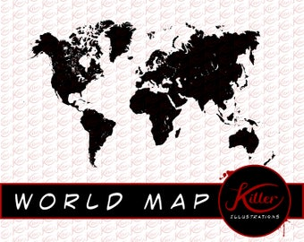 World map svg clipart silhouette world map vector digital world map vector clip art earth cut file instant digital download gumiabroncs Images