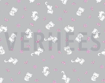 Cotton fabric printed flowers white kitten pattern pink on gray background, price is for 50 cm