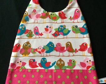 Elastic bib pattern birds and polka dot cotton and sponge