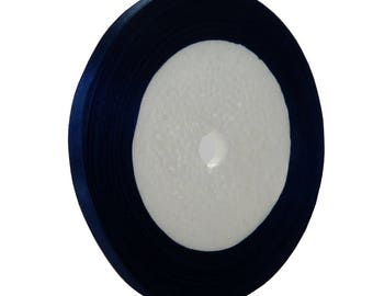Roll of 22 meters of 7mm blue satin ribbon Navy - free shipping