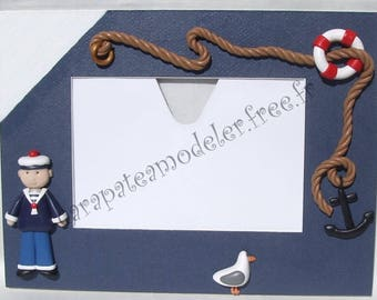 Picture frame blue and white sailor