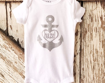 Anchor heart with name onesie/Iron on HTV