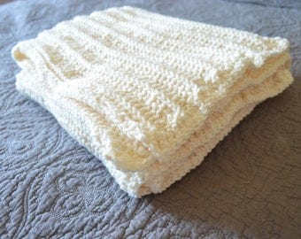 Super Soft and Cuddly Hand Crochet Neutral Cream Baby Blanket/ Afghan