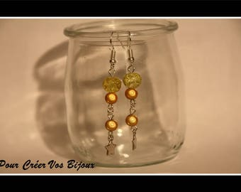 Kit earrings with yellow crackled bead and yellow/orange semi-magiques beads and Star