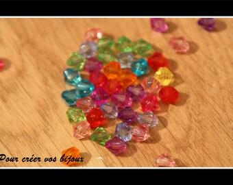 Set of 200 6mm acrylic bicone beads