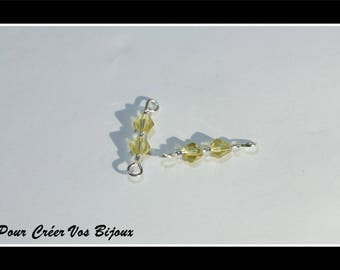 Set of 10 connectors with yellow seed bead and glass beads
