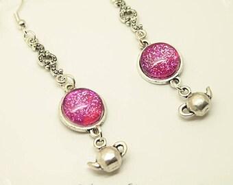 """""""It's Tea Time In Wonderland"""" earrings earrings Alice in Wonderland romantic Vintage Cabochon"""
