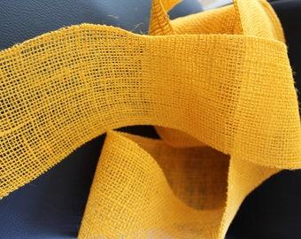 Canvas - 10cm - yellow burlap Ribbon