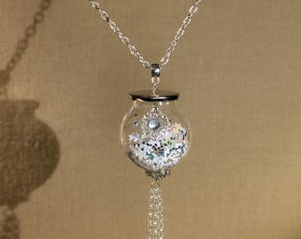 "Long necklace ""globe boule de neige"" fantasy, winter, Christmas"