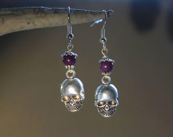 """Skull"" Halloween Silver earrings, Gothic, Rock."