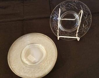 "Set of 8 Antique Cut Glass Dessert Plates 6"""