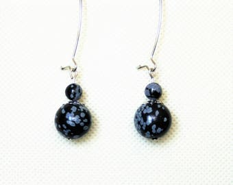 "Earrings with gem stones ""Speckled Obsidian"""